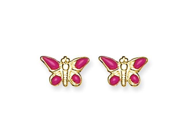 14K Epoxy Fill Pink Butterfly  Earrings