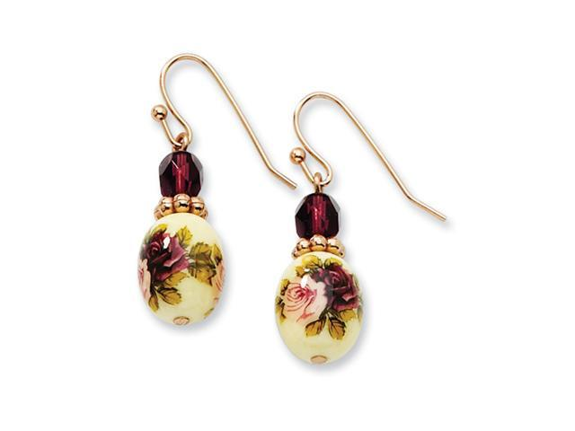 Rose-tone Dark PurpleCrystal/Floral Decal Drop Earrings