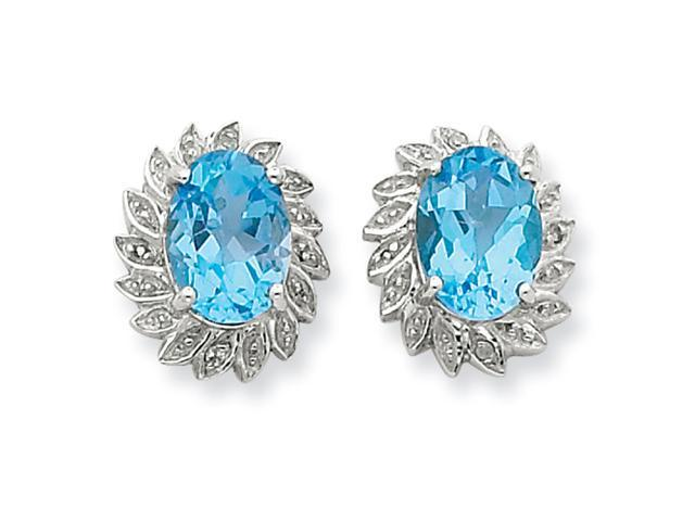Sterling Silver Lt Swiss Blue Topaz & Diamond Post Earrings