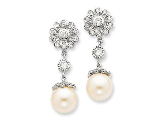 Sterling Silver Syn. Cultured Pearl CZ Post Earrings