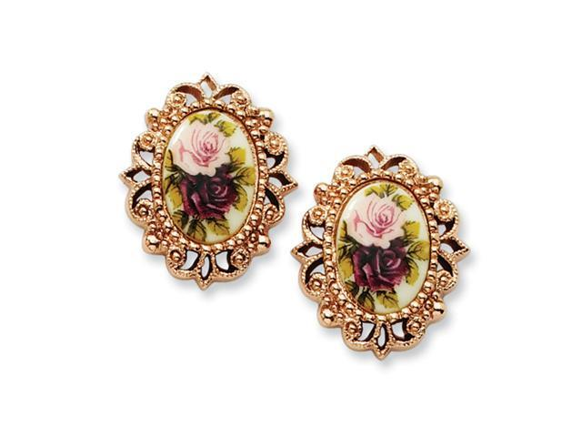 Rose-tone Floral Decal Oval Post Earrings
