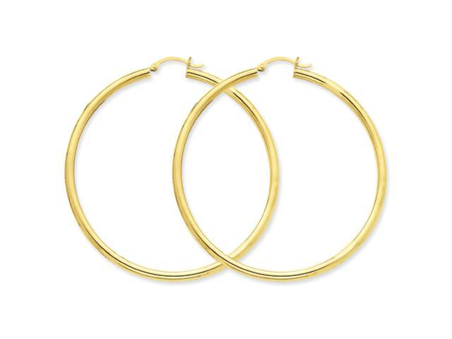 10k Polished 3mm Round Hoop Earrings