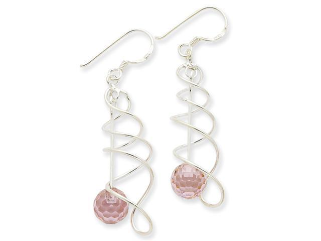 Sterling Silver Pink CZ Ball Fancy Earrings