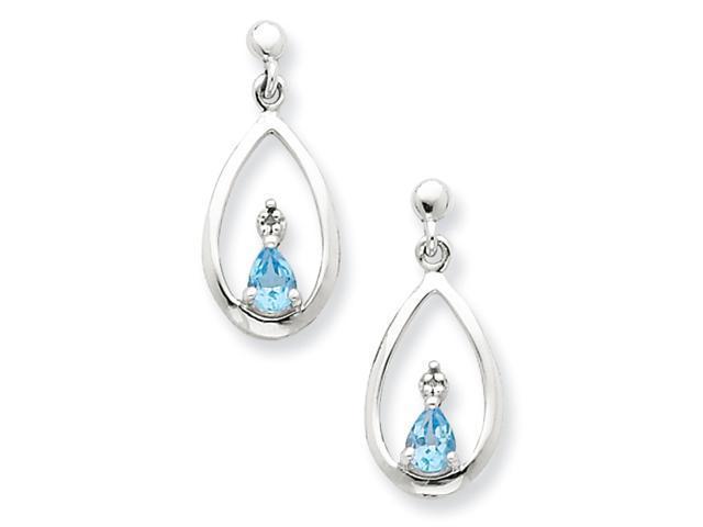 Sterling Silver Rhodium Pear SW Blue Topaz & Diamond Post Earrings