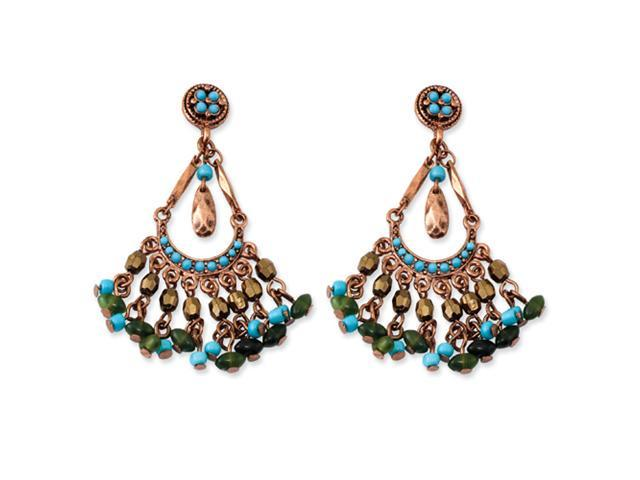 Copper-tone Aqua & Green Crystal Chandelier Post Earrings