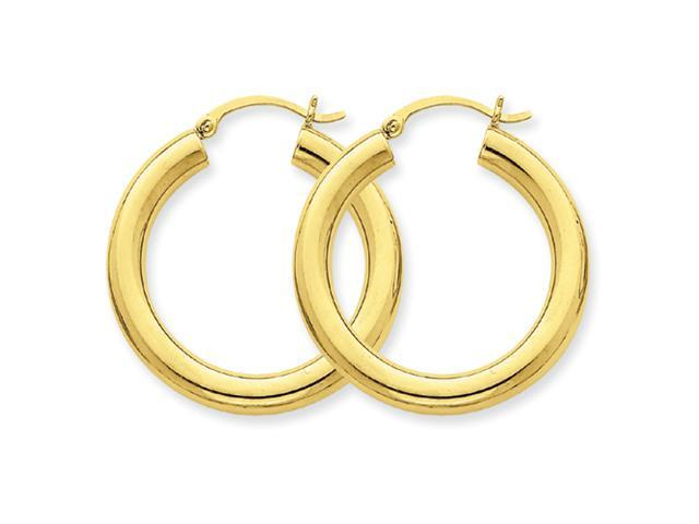 10k Polished 4mm x 30mm Tube Hoop Earrings