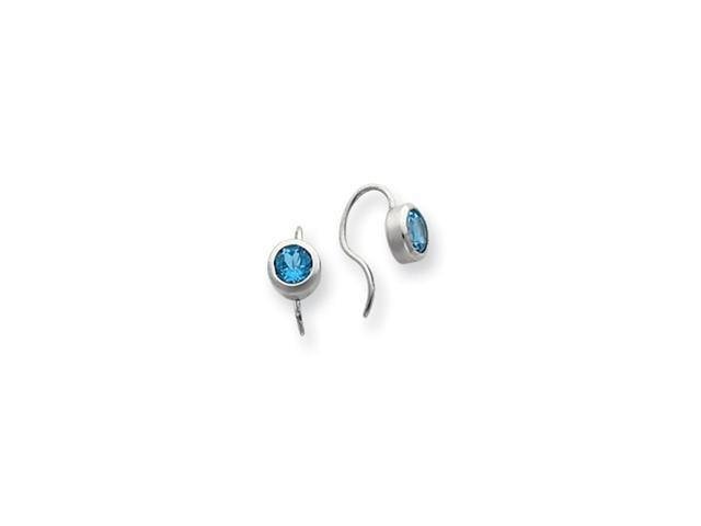 Sterling Silver Blue Topaz Round Bezel Set Earrings