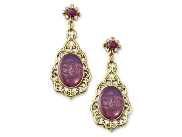 Brass-tone Purple Crystal Oval Post Dangle Earrings