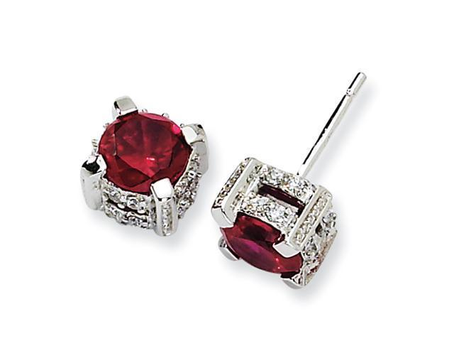Sterling Silver 6.5mm Synthetic Ruby & CZ Stud Earrings