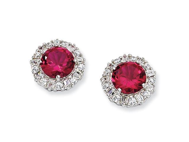 Sterling Silver Synthetic Ruby & CZ Post Earrings