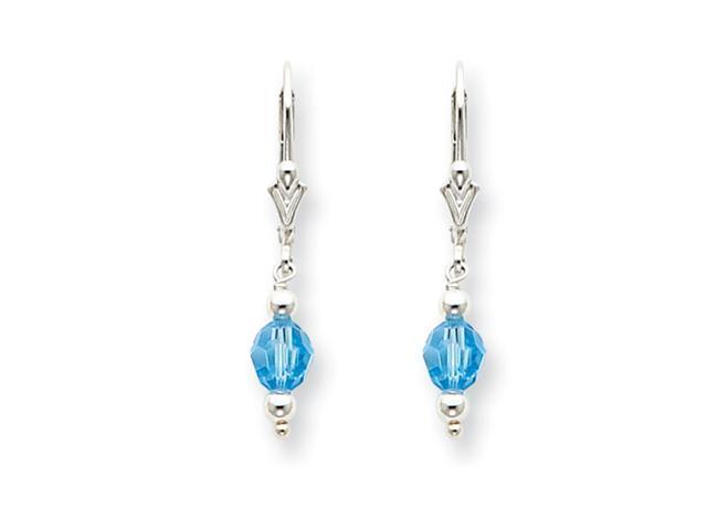 Sterling Silver Blue Crystal Leverback Earrings