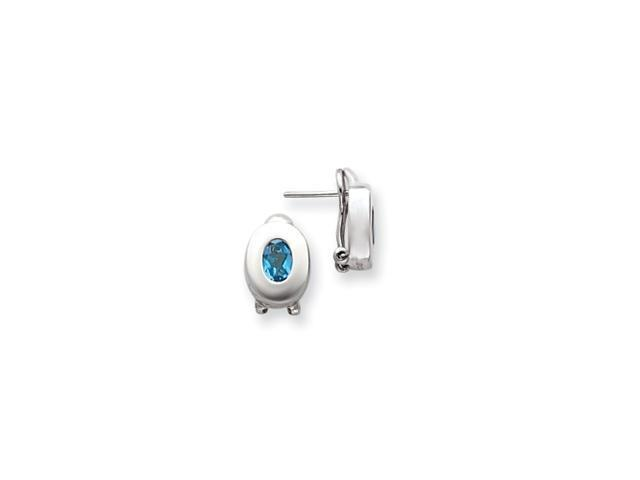 Sterling Silver Blue Topaz Oval Earrings