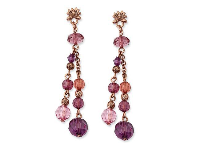 Rose Gold-tone Pink Crystal Beaded Post Dangle Earrings