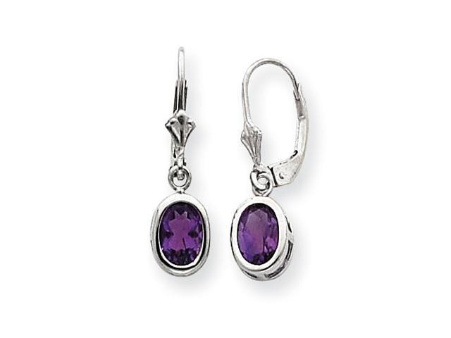 Sterling Silver 6x4mm Oval Amethyst Leverback Earrings