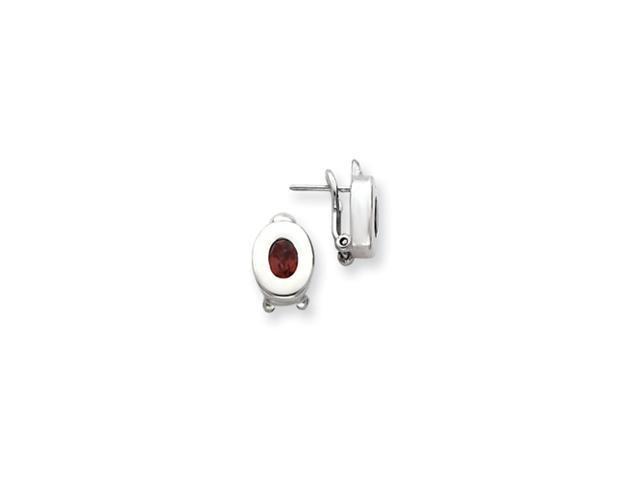Sterling Silver Garnet Oval Earrings