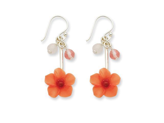 Sterling Silver Rose/Cherry Quartz & Carnelian Dangle Flower Earrings