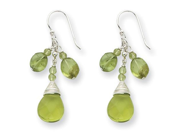 Sterling Silver Green Crystal/Peridot Earrings