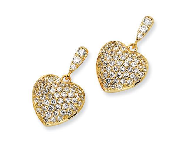 Gold-plated Sterling Silver CZ Heart Dangle Post Earrings