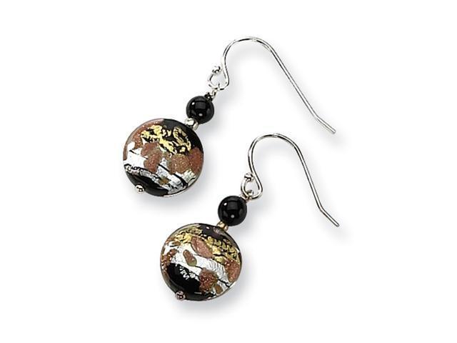 Sterling Silver Murano Glass Bead & Onyx Wire Earrings