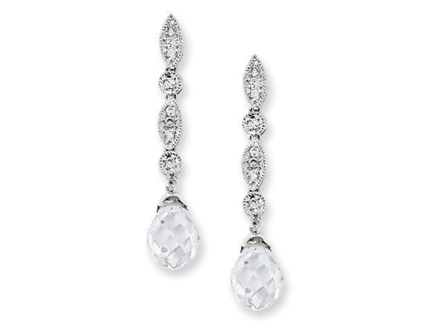 Sterling Silver CZ Teardrop Dangle Post Earrings