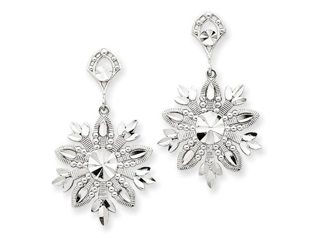 14k White Gold Snowflake Dangle Earrings