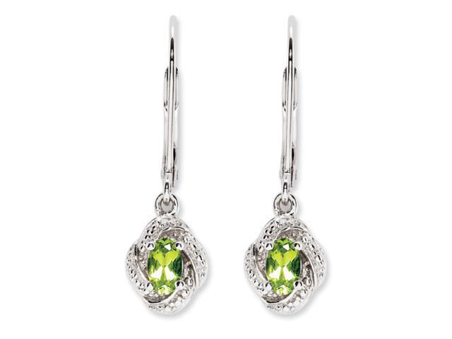 Sterling Silver Diamond & Peridot Earrings