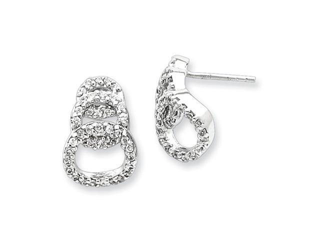 Sterling Silver CZ Circle Post Earrings