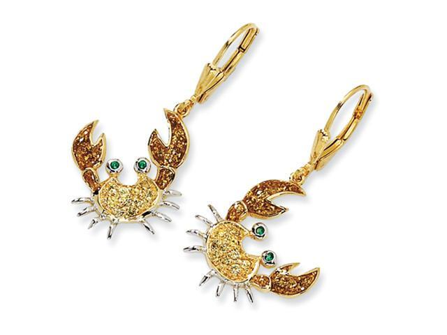 Gold-plated Sterling Silver Enameled CZ Crab Leverback Earrings