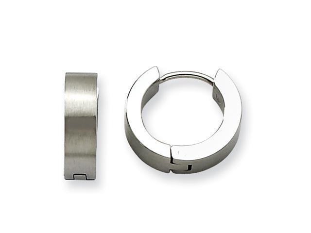 Stainless Steel Satin Round Hinged Hoop Earrings