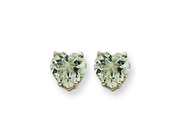 14kw 6mm Heart Green Amethyst Earring
