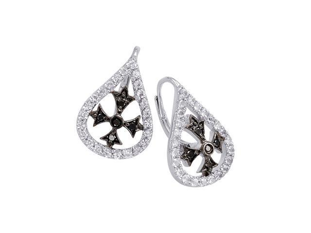Alesandro Menegati Sterling Silver Black Diamonds and White Topaz Fashion Fancy Fashion Earrings