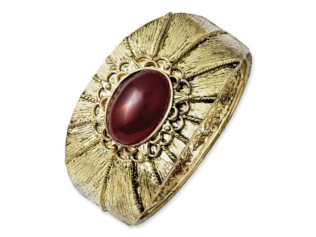Brass-tone Red Crystal Hinged Cuff Bangle