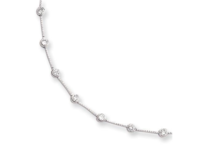 18in Rhodium-plated Round Bezel Set CZ Necklace