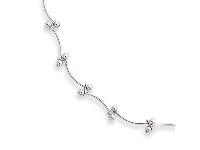16in Rhodium-plated Bead Wave Necklace