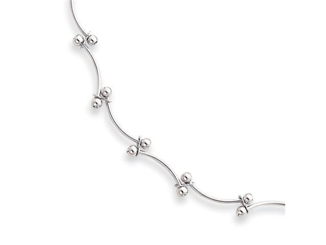 18in Rhodium-plated  Bead Wave Necklace