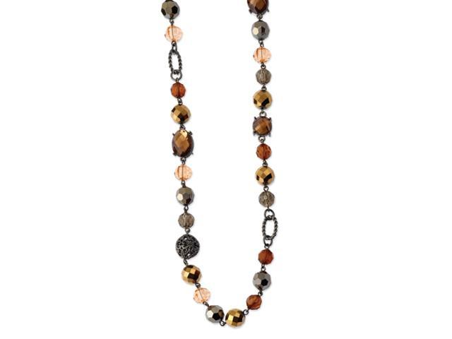 Black-plated Smokey Brown Crystals w/ Velor Cord 42in Necklace