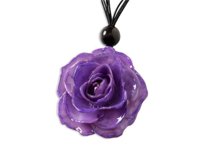 Lacquer Dipped Lavender Rose w/ Black Cotton Cord Necklace