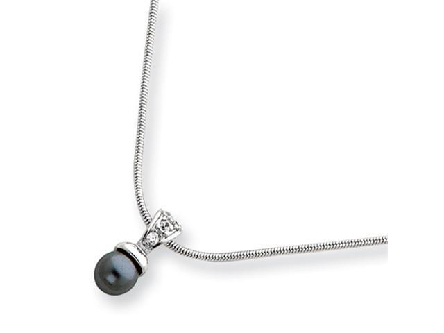18in Rhodium-plated Black Glass Pearl CZ Necklace