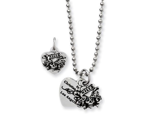 Stainless Steel Designer's Skull/Heart Pendant 24in Necklace