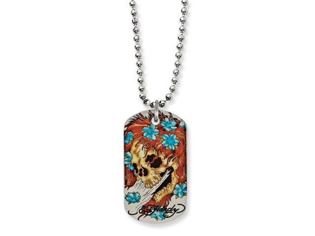 Stainless Steel Designer's Big Ghost Painted Dog Tag 24in Necklace