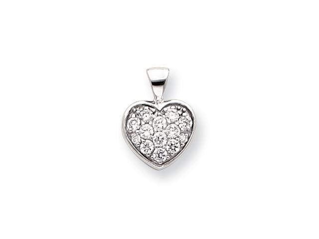 18in Rhodium-plated CZ Pave Heart Necklace
