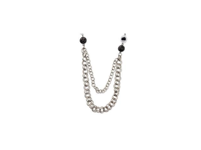 Silver-tone Jet Black Crystal Necklace