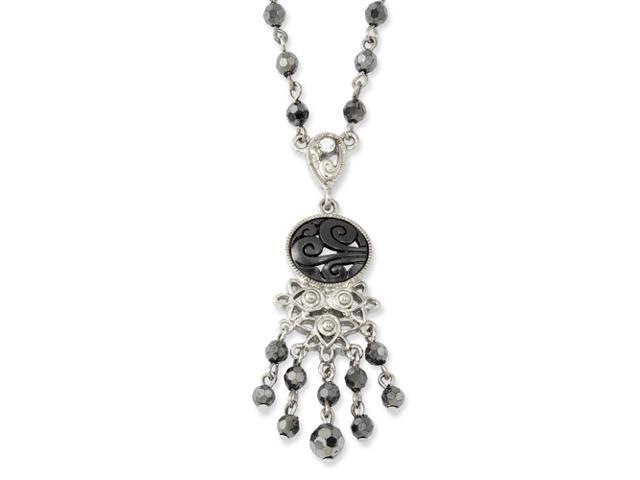 Silver-tone Jet Black Crystal Teardrop Necklace