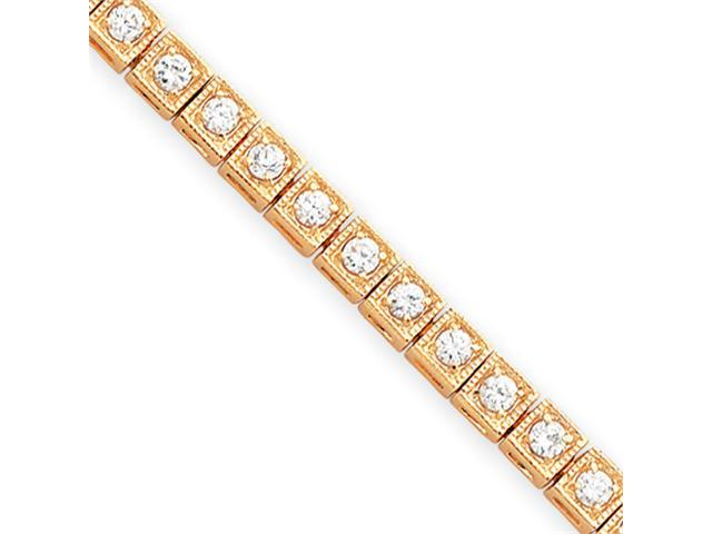 7.25in  Gold-plated Round CZ Bracelet
