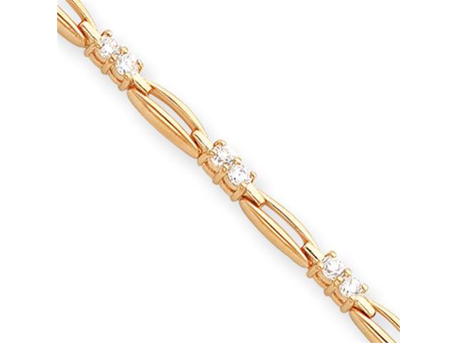 8.25in Gold-plated Link CZ Bracelet