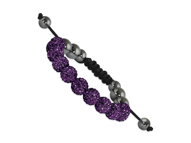 10mm Dark Purple Crystal & Hematite Beads Black Cord Bracelet