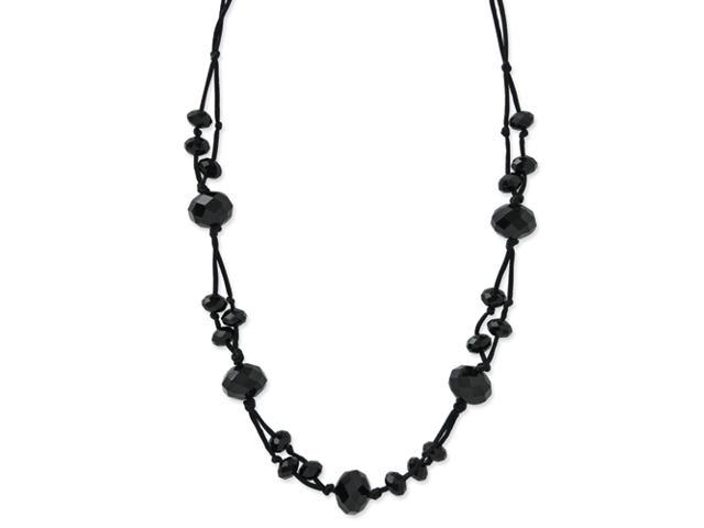 Black-plated Hematite Crystal 16in w/ext Necklace