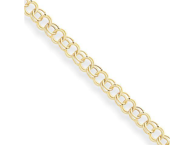 14k Hollow Double Link Charm Bracelet