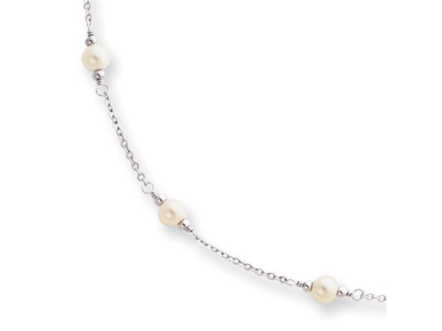 18in Rhodium-plated Small White Glass Pearl Necklace
