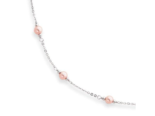 18in Rhodium-plated Small Pink Glass Pearl Necklace